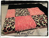 Minky Blanket - Personalized baby blanket - Pink, black and leopard minky print- 30x36""