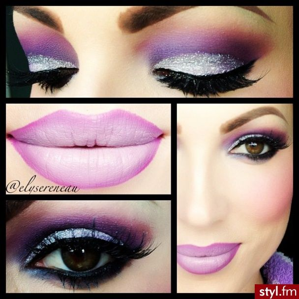 Dramatic makeup - Glittery silver with purple eyeshadow.