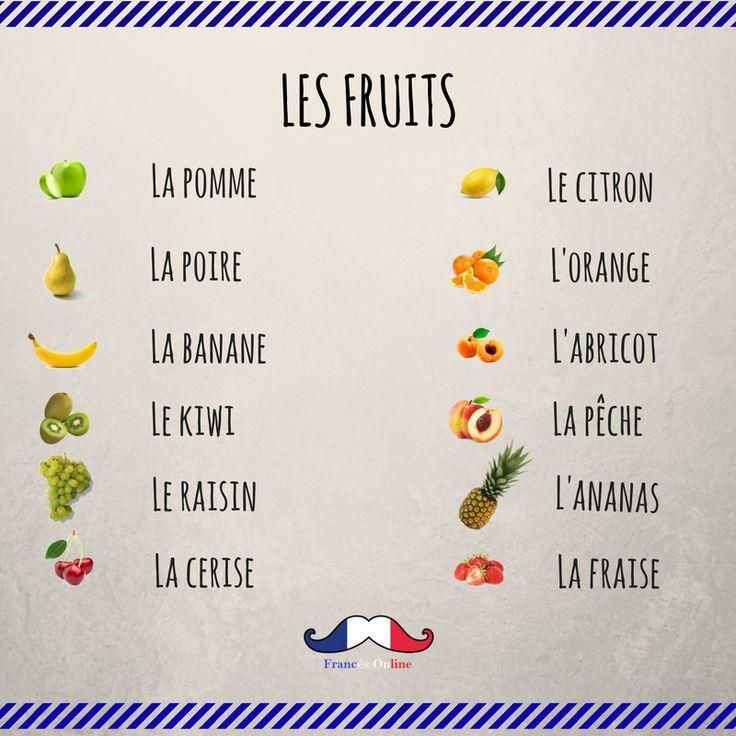 Hoy aprendemos el #vocabulario de las frutas.  #Idioma #curso #Francés #FLE #FrancésOnline