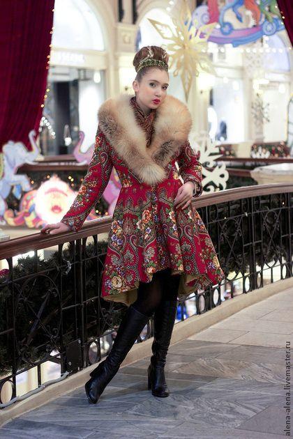 """Зимнее пальто """"Аленький цветочек"""". - цветочный, павловопосадский платок, дизайнерская одежда, зимняя одежда"""