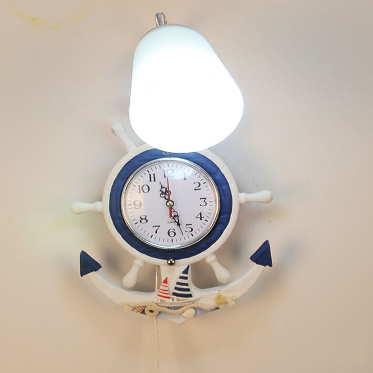 83.30$  Watch here - http://ali6h6.worldwells.pw/go.php?t=32775714230 - Mediterranean Children's Vintage Wall Lamp  E27 Lamp Clock Kids Room Wall Lamp Led 110V-220V Wall Clock