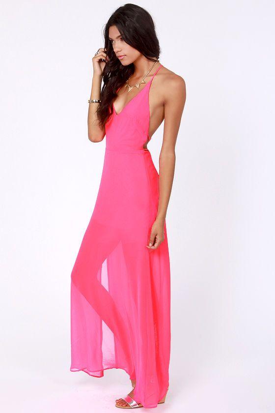 At Long Last Hot Pink Maxi Dress