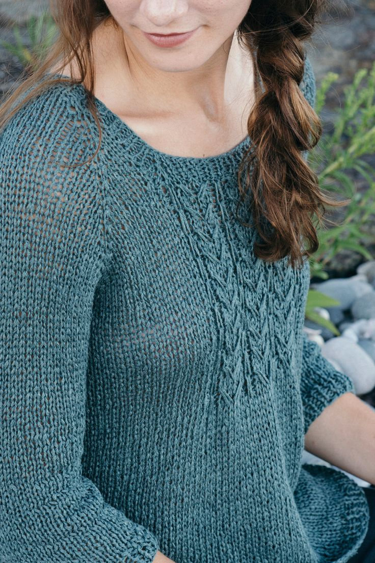 merrifield by pam allen / from the verdant collection, featuring 5 linen knits by the quince design team / in quince & co. kestrel, color urchin