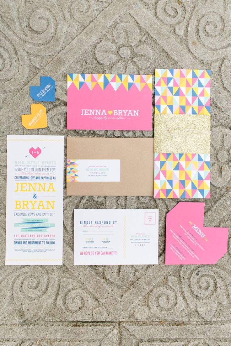Eclectic & Colorful Geometric Wedding Invitation Suite // photo by http://www.amalieorrangephotography.com, invitation by http://www.reneenicoledesign.com... see more: http://theeverylastdetail.com/colorful-geometric-wedding-ideas/