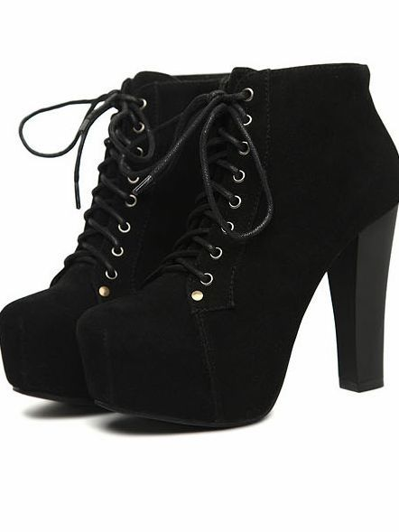 I found 'Women Fashion Faux Suede Lace up Chunky Heel Boots' on Wish, check it out!