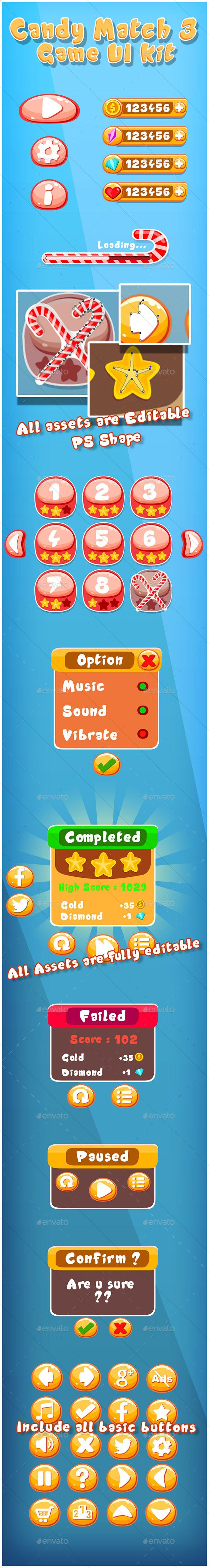 Candy Match 3 Game UI Kit - User Interfaces Game Assets