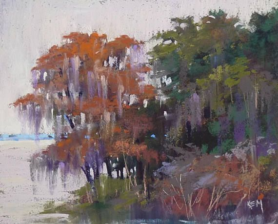 ORIGINAL PASTEL PAINTING by Karen Margulis Title: Down by the River Size: 8x10 Medium: pastel This is an original pastel painting. It measures 8x10 inches and will be shipped to you unframed, safely protected with glassine paper in between two foamcore boards. I am an award