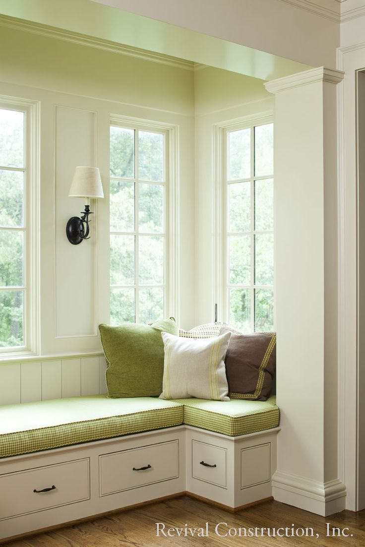 window seat - Historic Brookwood Hills renovation and addition by Revival Construction, Inc. and Architect D. Stanley Dixon.  Photograph by Jeff Herr.  For more details on this project, visit our blog, http://thegeorgianrevival.wordpress.com/2013/04/03/brookwood-hills-renovation/