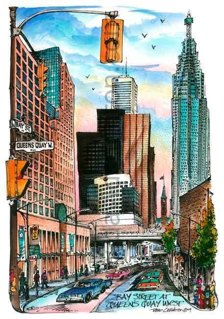 At the heart for the #toronto #financial District Bay and Quay Intersection, Toronto, Ontario, Canada by Artist Illustrator David Crighton Art