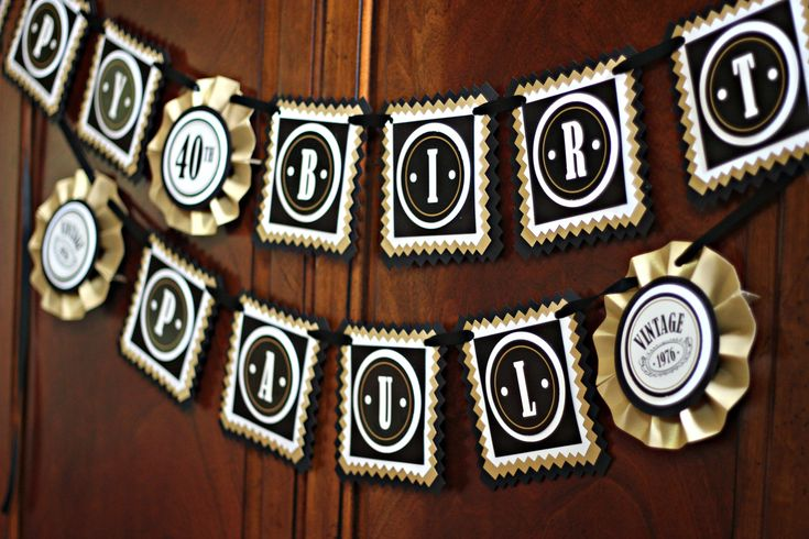 Masculine and Modern Adult Happy Birthday Banner.  40th birthday party decor / Any Age. Black / Antique gold/ Customizable. by CharmingTouchParties on Etsy