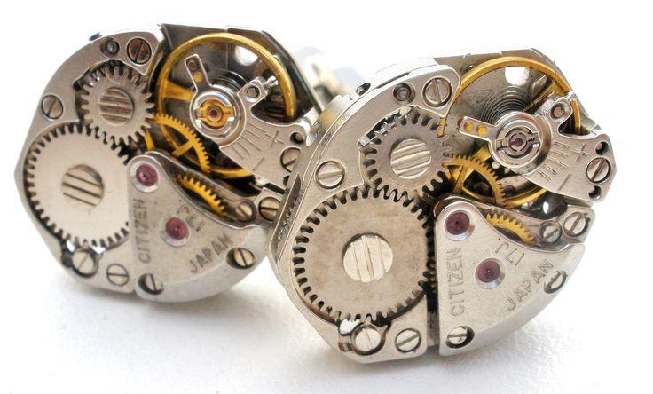 Steampunk Swiss Watch Cufflinks Vintage Citizen Watches Men's
