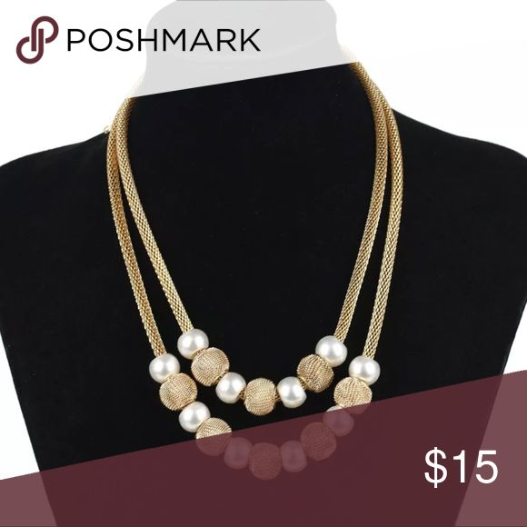 5/$25 gold double chain thick chunky necklace Beautiful statement piece, gold chain, pearl colored beads, double chain Jewelry Necklaces