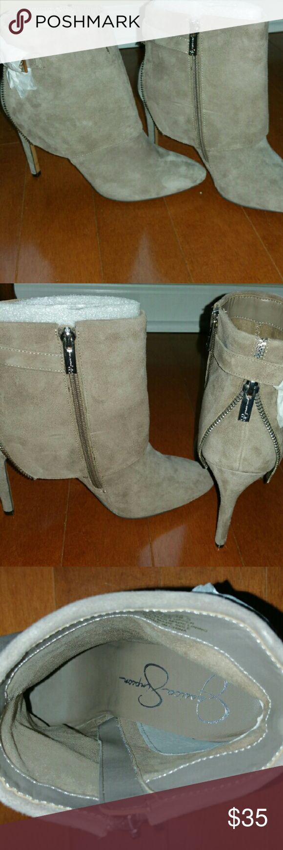 Fabulous Jessica Simpson boots! Creamy/tan color. Zippers on the back and clasps on the side!  Brand new! Love these boots, they just don't fit! Super cute with skinny jeans! Jessica Simpson Shoes Ankle Boots & Booties