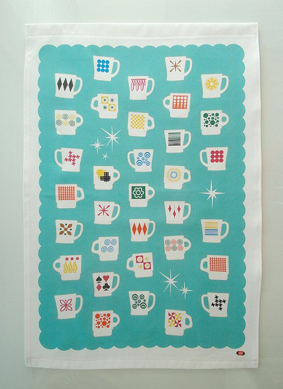 Fire King Mugs TEA TOWEL Midcentury Americana Retro by pennycandy, $17.50