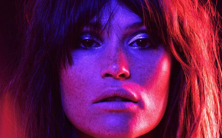 Télécharger fonds d'écran Gemma Arterton, Portrait, actrice britannique, taches de rousseur, brune, les néons