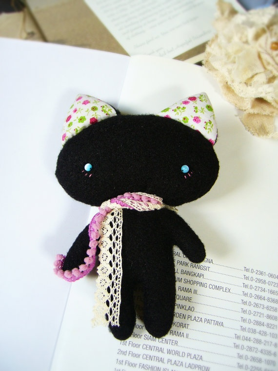 Cat doll Black cat doll  mini cat doll handmade doll by DooDesign, $12.00 #teamwwes #toys