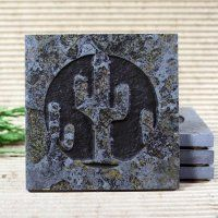Cactus Southwestern Medallion Copper Slate Coaster Set