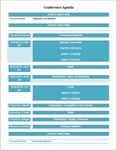 Conference agenda DOWNLOAD at http://www.templateinn.com/10-meeting-agenda-templates-for-ms-word-excel/