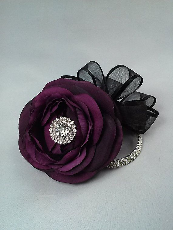 Plum Corsage-Purple Corsage Wrist by BecauseOfLoveFloral on Etsy