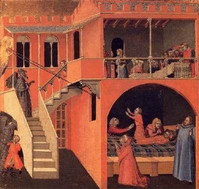 """Ambrogio Lorenzetti - Miracolo del  bambino risuscitato da """"Scene della vita di San Nicola"""" - c. 1332 - Tempera su tavola - Galleria degli Uffizi, Firenze"""