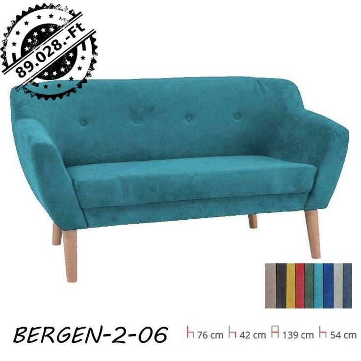 Ez a türkiz színű Bergen kanapé méltó helye a munka utáni pihenésnek. Más stílusra vágysz? Több színben is rendelhető! Ülés anyaga: szövet, keret anyaga fa.