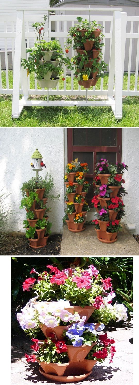 Nancy Janes Stacking Planters With Patented Container Garden Ideas Pinterest Planters