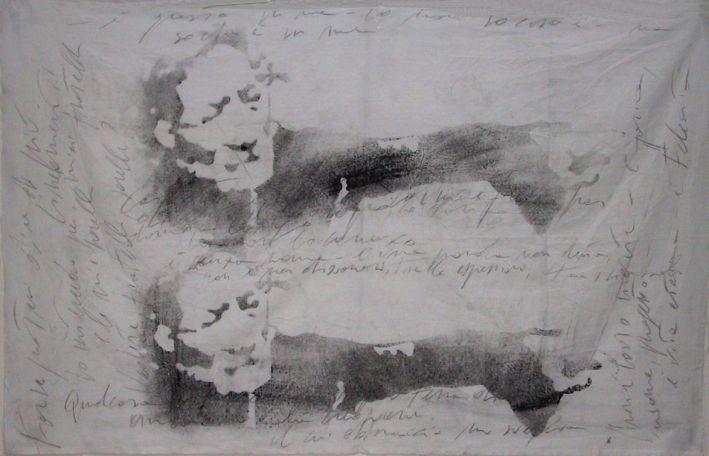 """autore: Francesca Scammacca - """"C'è questo in me"""" - acrilici e grafite su tela - cm 128x80 - 2001"""