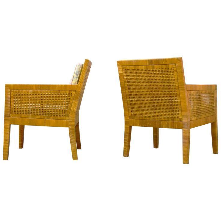 Billy Baldwin Rattan Wrapped Lounge Chairs