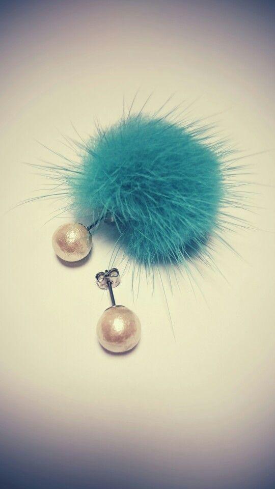 mink ball catch pierced earrings *emerald...*