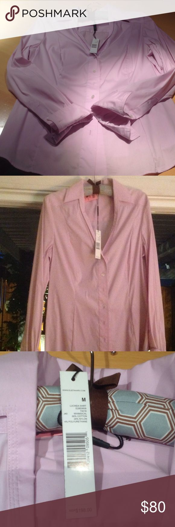 Stylish Blouse High quality slim fit Blouse. Very light violet color. 68% Coton.and 28% Nylon. Has some stretch in it. Deep V-cut. Great for office or any other occasion. Will nicely complement skinny pants/jeans. Elie Tahari Tops Blouses