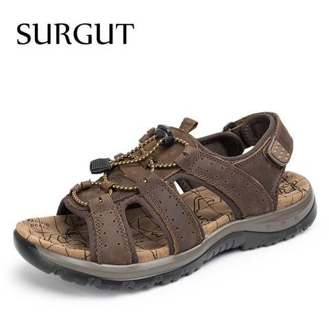 [EBay] Surgut Breathable Sandals Men Shoes Real Leather Sandals Shoes Men Sandals Non Slip Beach Summer Slippers For Men Big Size