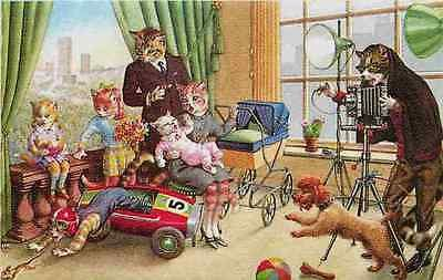 Eugen Hartung Artist Signed Mainzer Dressed Cats Family Picture Vintage Postcard Dressed cats fantasy by artist Eugen Hartung. Photographer with camera man trying to make family photo. Published by Al