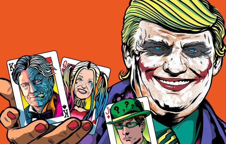 バットマンシリーズに登場する悪役「ジョーカー」のメイクをしたトランプ氏がカードを掲げる。キングはホワイトハウスの「黒幕」とされるバノン氏、クイーンは「代替的事実」という言葉を使ったコンウェイ大統領顧問、ジャックは、帽子とメガネをつけていて分かりにくいが、就任演説を起草したミラー次席補佐官か――Joao Maio Pinto氏、ポルトガル「Expresso」