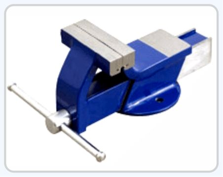 All Steel Bench Vice ( Fixed Base ) Made from tested Steel Jaws made from Carbon Steel Hardened and Tempered knurled Heavy & Light Model