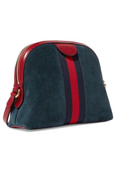 a61a065d6faa Gucci   Ophidia patent leather-trimmed suede shoulder bag   NET-A-PORTER.COM