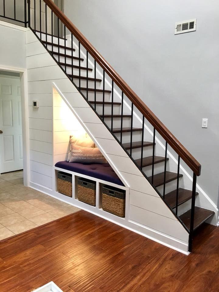 Diy Shiplap Staircase Organization Bench In 2020 Diy Staircase Diy Shiplap Stairs