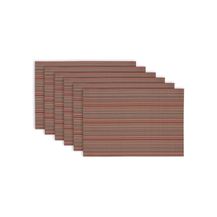 """6pk Brown Placemat (13""""x19"""") - Design Imports, Red"""