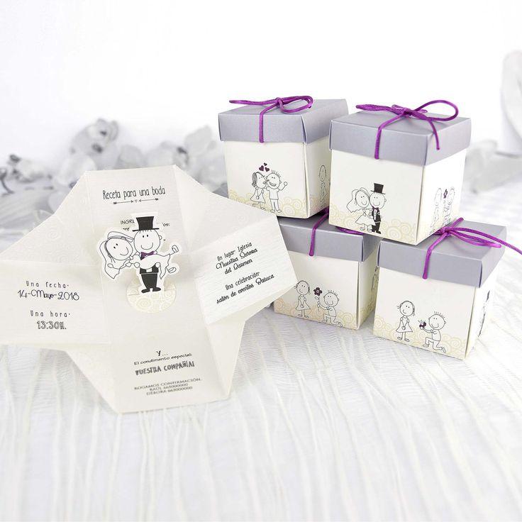 Invitaciones en formato de caja, originales y linea divertida para vuestra boda.