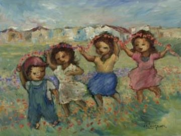 Children Carrying Garland by Amos Langdown -Photolithography Re-production | Dante Art Gallery