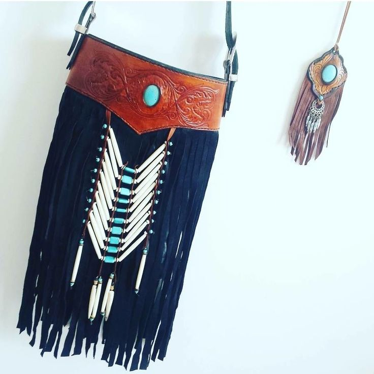 Leather hand tooled carved turquoise inlay bone bag