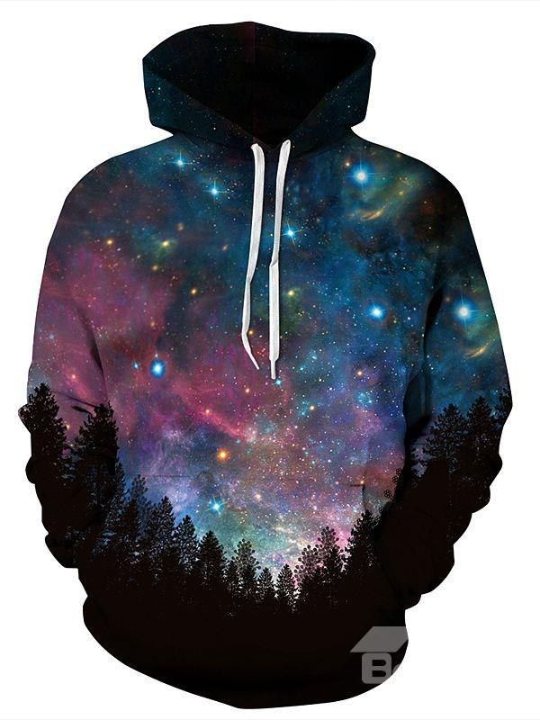 Long Sleeve Dark Blue Galaxy Pattern Pocket 3D Painted Hoodie  on sale, Buy Retail Price Men's 3D Hoodies at Beddinginn.com