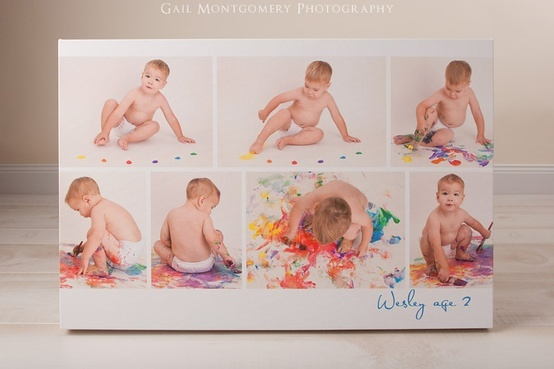Instead of cake smash photoshoot... cute painting shoot! -Do this and cake smash, because babies love making messes.