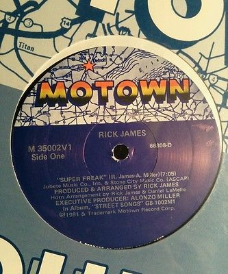 Rick James Super Freak 12 Single~1981 Motown Records M 35002V1 New