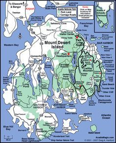 Map of Mount Desert Island and Acadia National Park