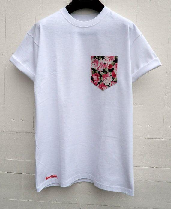 Men's Pink Roses Floral Pattern White Pocket by HeartLabelTees