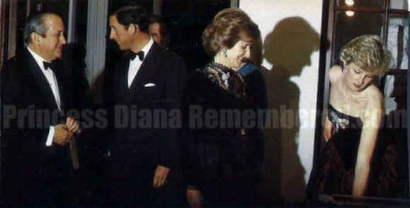 March 21, 1987: Prince Charles  Princess Diana attending a reception for Spanish Ambassador Jose Joaquin Puig de la Bellacasa at the Spanish Embassy in London.
