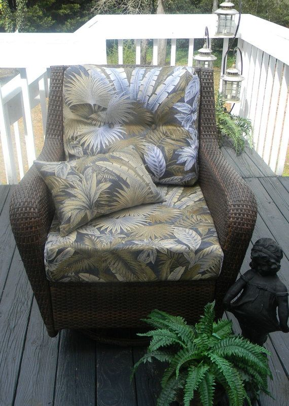 Deep Seating Chair Cushion Set   Tommy Bahama Fabric  Blue Tan Tropical  Floral, Choose Size