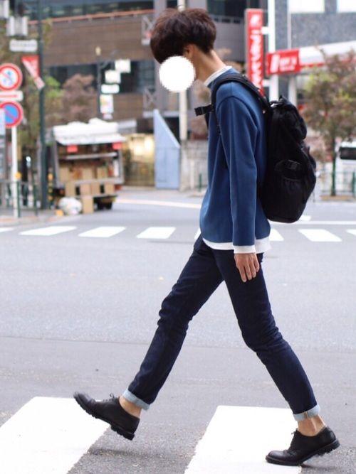 青ニット着ました シンプルコーデです◎ ■着用サイズ■ knit → M t-shirt →
