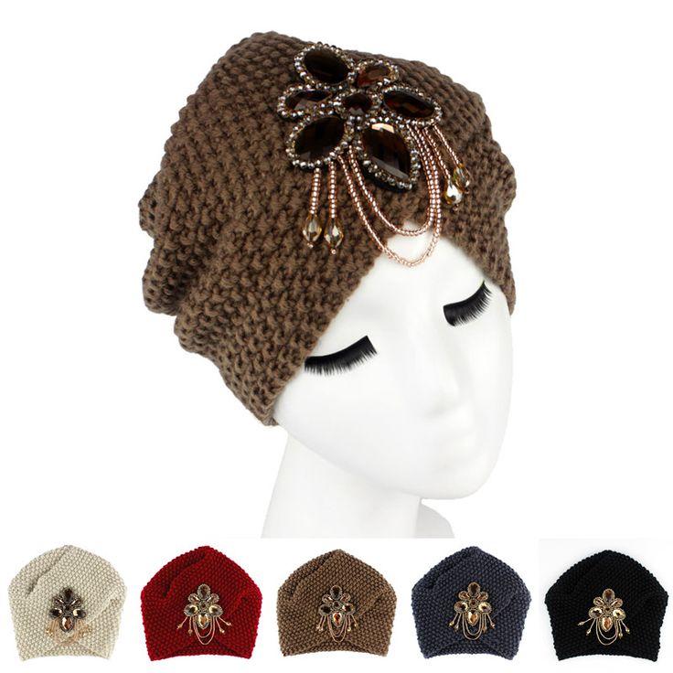 >> Click to Buy << 2016 New Fashion Ladies Metal Jewel Accessory Winter Warm Floral Turban Soft Knit Headband Beanie Crochet Headwrap Women Cap #Affiliate