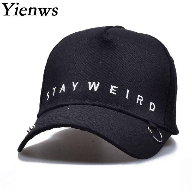 Yienws Hoops Curved Cap Women New Design Letter Bone Masculino Baseball Cap White Black Gorras Planas Stay Weird C855